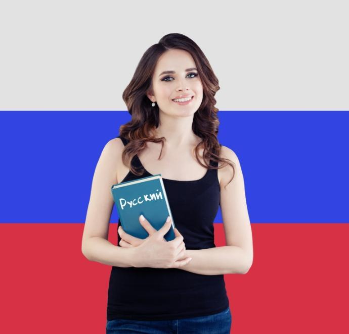 Kobieta zsłownikiem rosyjskim